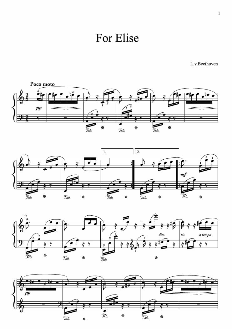 fur elise Fur elise piano sheet music by beethoven - print and download the free piano sheet music arranged by yoke wong.