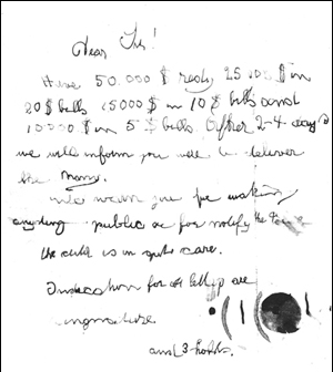 Lindbergh baby ransom note