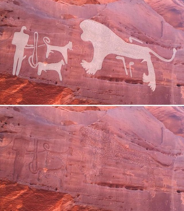 Rock art dogs on leashes